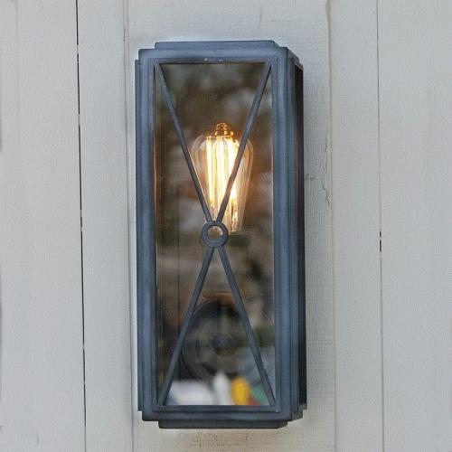 Mayfair Box Wall Light Weathered Zinc Slim