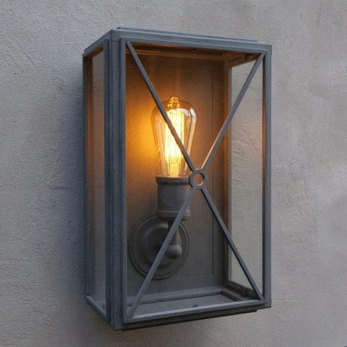 Mayfair Box Wall Light Weathered Zinc Wide