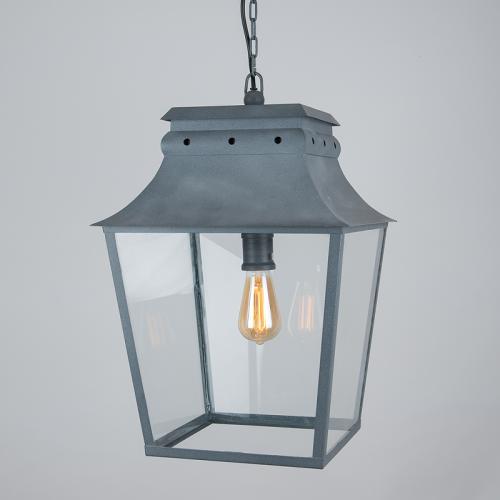 Bath Hanging Lantern Weathered Zinc Large