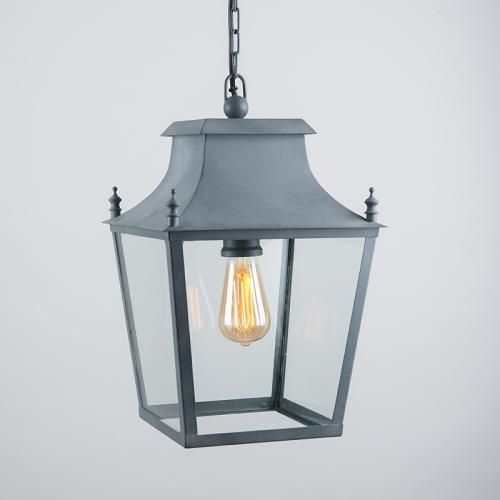 Blenheim Hanging Lantern Weathered Zinc Small