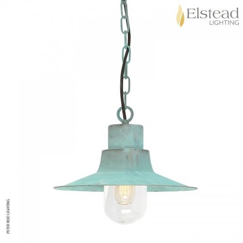 Sheldon Verdigris Brass Chain Light