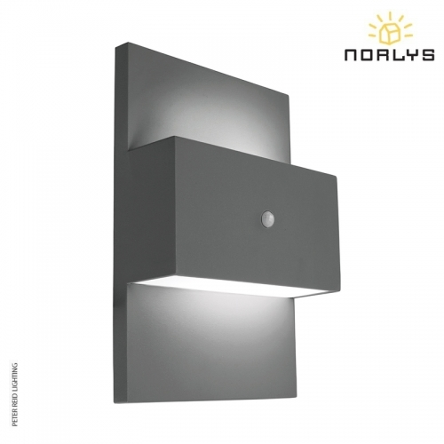 Geneve Graphite Up/Down PIR Wall Light by Norlys