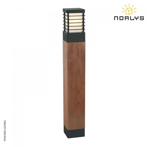 Halmstad Stained Wood Large Bollard Black by Norlys