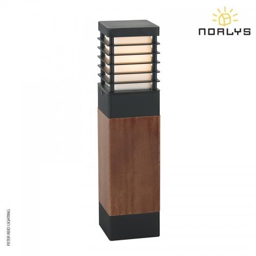 Halmstad Stained Wood Medium Bollard Black by Norlys