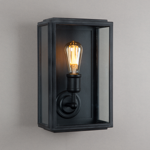 London Wall Light Matt Black Wide