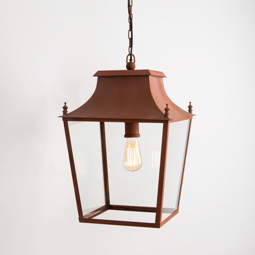 Blenheim Hanging Lantern Corten Steel Large