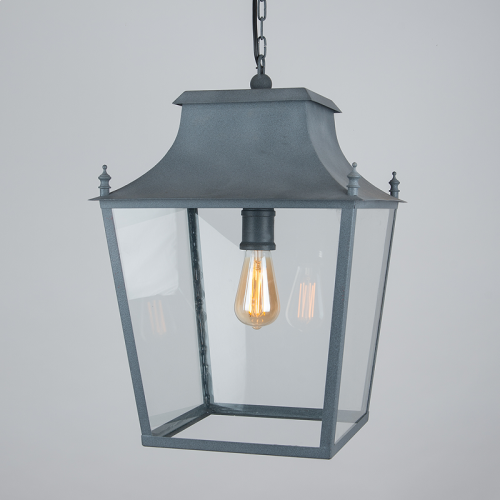 Blenheim Hanging Lantern Weathered Zinc Large