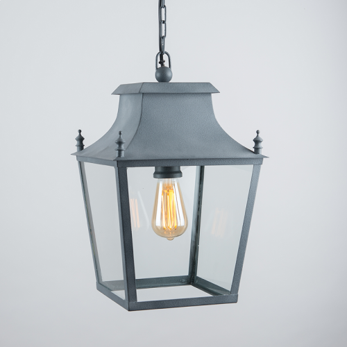 Blenheim Hanging Lantern Weathered Zinc Small