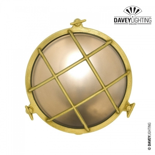 Brass Bulkhead 7027 With Guard 75W by Davey Lighting