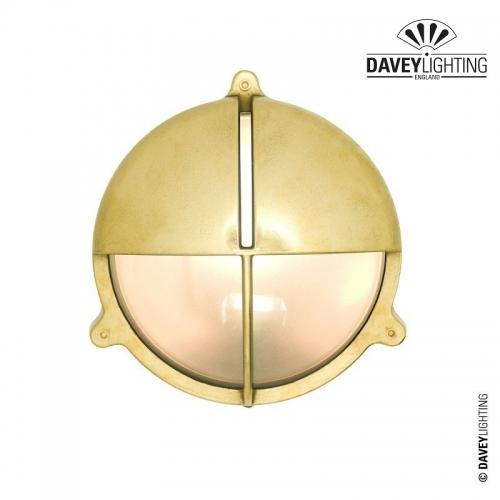 Brass Bulkhead 7428 With Eyelid 60W by Davey Lighting