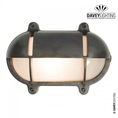 Brass Oval Bulkhead 7434 With Eyelid 100W by Davey Lighting