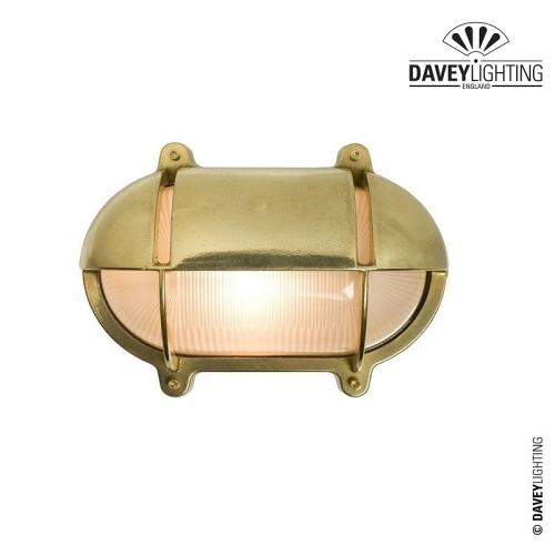 Brass Oval Bulkhead 7436 With Eyelid 40W by Davey Lighting