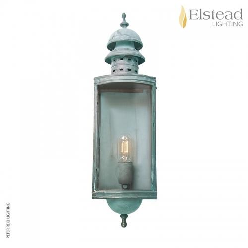 Downing Street Brass Wall Lantern Verdigris