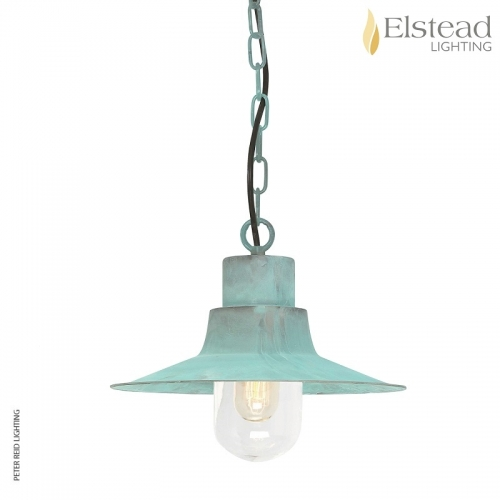 Sheldon Verdigris Brass Chain Light