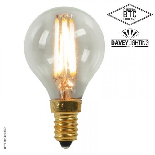 Original BTC E14 Dimmable 4 Watt Clear Glass Golf Ball Filament LED Bulb
