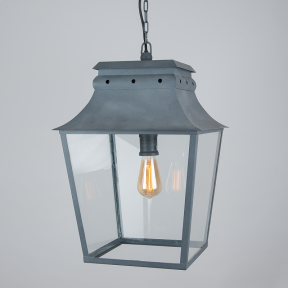 Bath Hanging Lantern Weathered Zinc Large