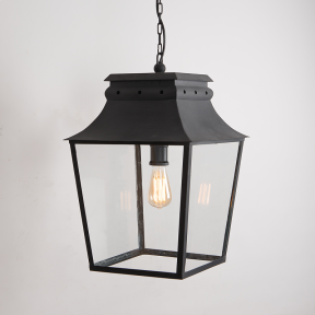 Bath Hanging Lantern Matt Black Large