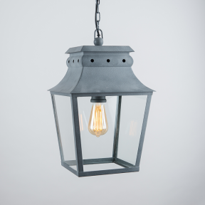 Bath Hanging Lantern Weathered Zinc Small