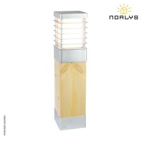 Halmstad Natural Wood Medium Bollard Galvanized by Norlys