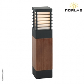 Halmstad Stained Wood Medium Bollard Black by Norlys