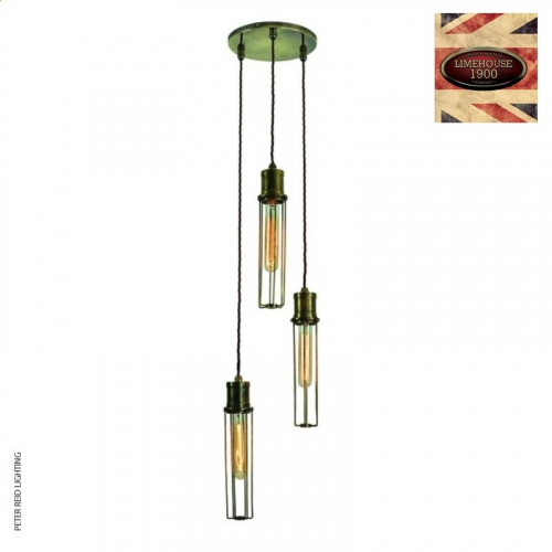 Alexander 3 Light Cluster Pendant by Limehouse Lamp Co