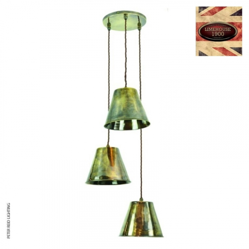 Map Room 3 Light Cluster Pendant by Limehouse Lamp Co