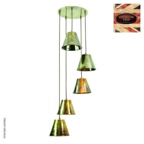 Map Room 5 Light Cluster Pendant by Limehouse Lamp Co
